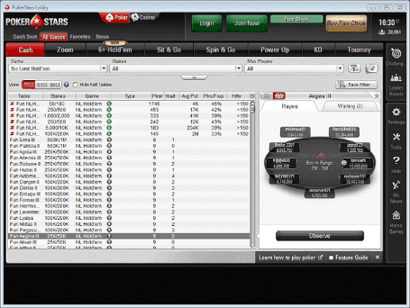 Play Money Games Listed at PokerStars