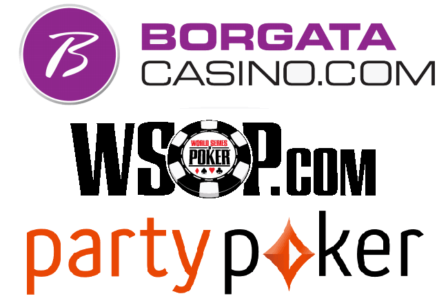 Logos of Borgata, WSOP.com, and PartyPoker