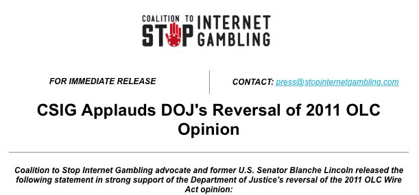 Press Release From Coalition to Stop Internet Gambling
