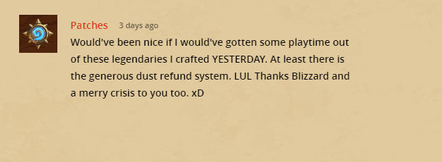 Negative Forum Post on Hearthstone Patch