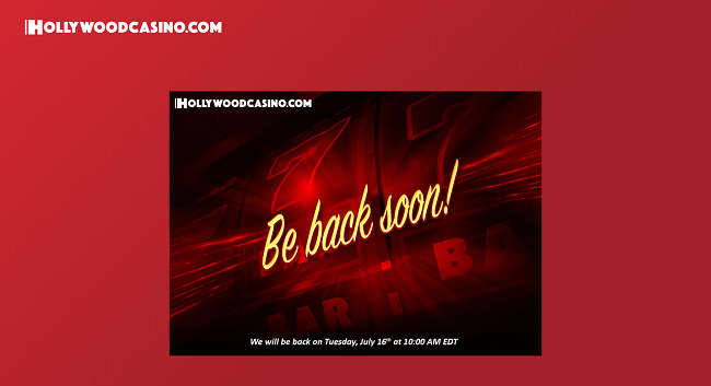 Message on Hollywood Casino's Home Page