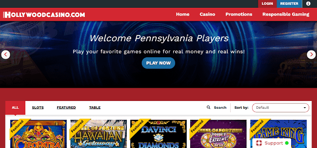 Website of Hollywood Casino