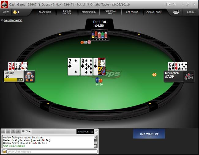 Intertops HU Cash Game Table