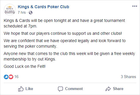 Business as Usual at Kings & Cards Poker Club