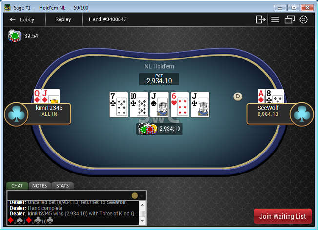 SwCPoker Cash Game Heads-up