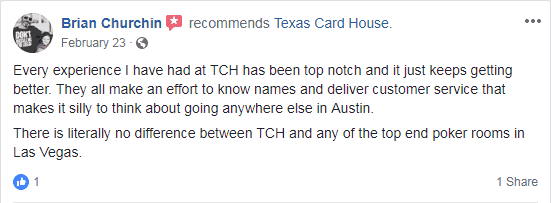 Review of Texas Card House on Facebook