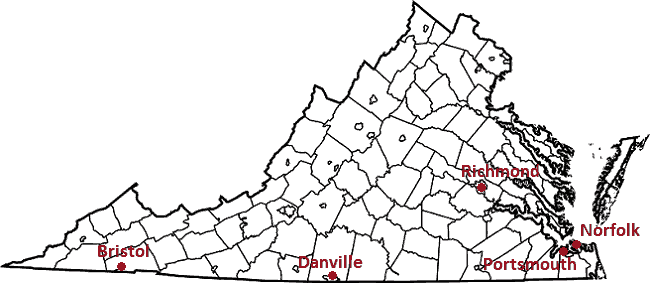 Map Showing Potential Virginia Casino Locations