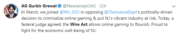 Tweet From Gurbir Grewal About NH Wire Act Case