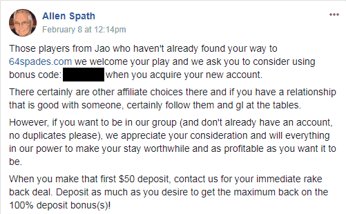 Al Spath's FB Message Concerning Jao and 64spades