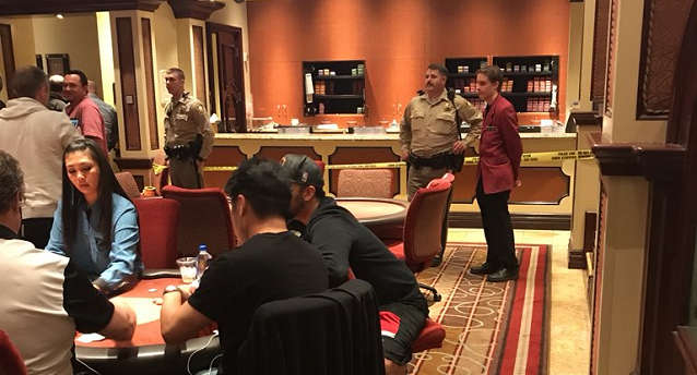 Image of the Bellagio Poker Cage Post-robbery