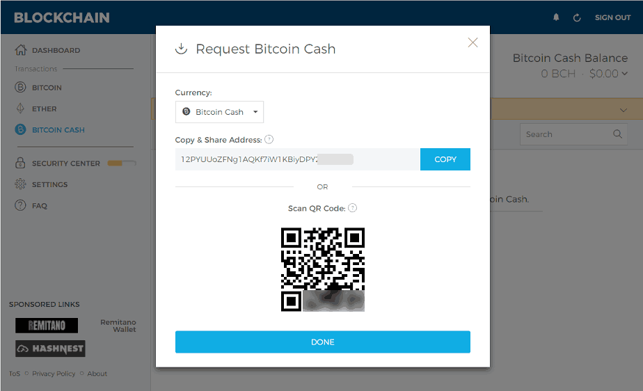 Generating a BCH Address at Blockchain.com
