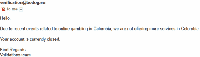email to customer showing end of Colombian support