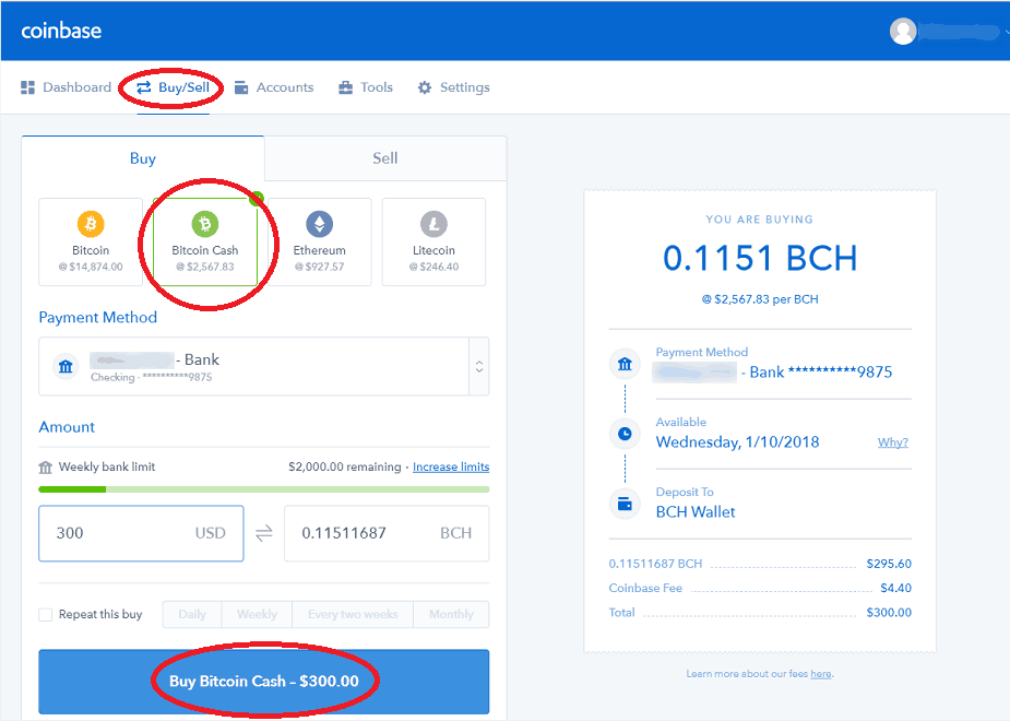 Purchasing Bitcoin Cash Through Coinbase