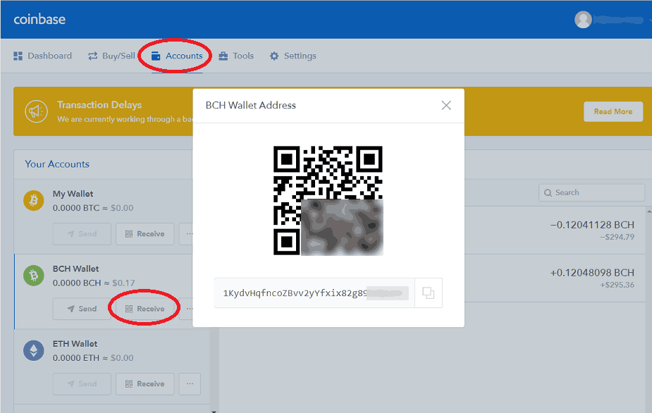 Coinbase BCH Receive Address