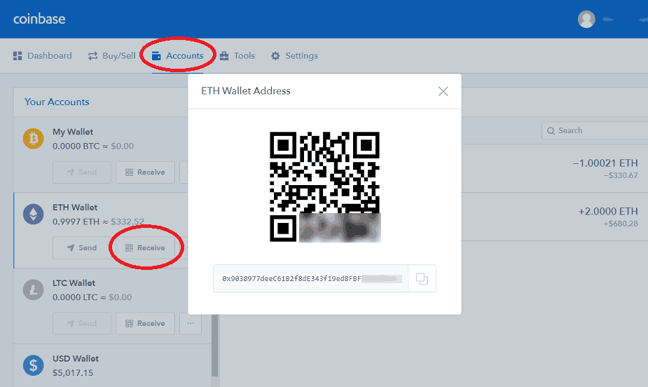 Receiving ETH at Coinbase