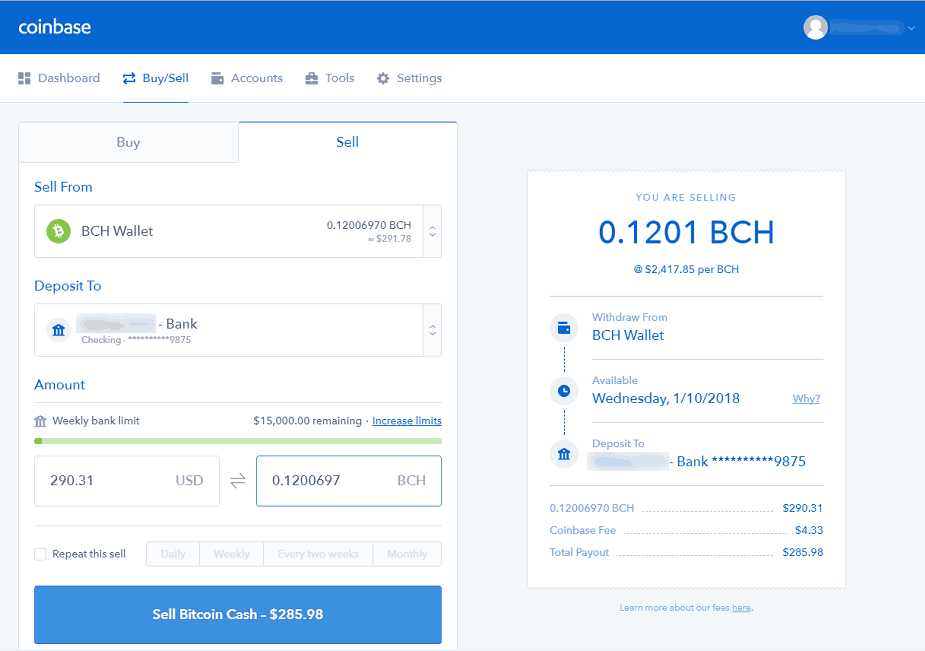 Coinbase: Sell Bitcoin Cash
