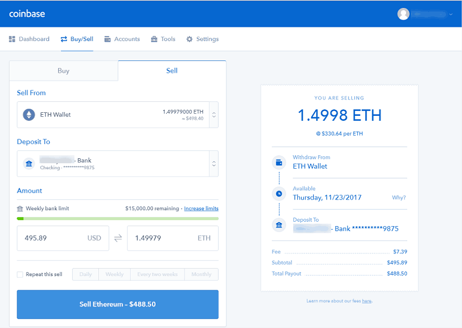Sell ETH at Coinbase