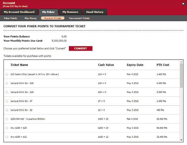 Points Exchange Options at Ignition Casino Poker