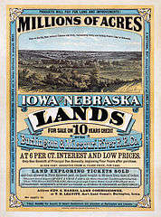 Poster Advertising Land in Iowa and Nebraska