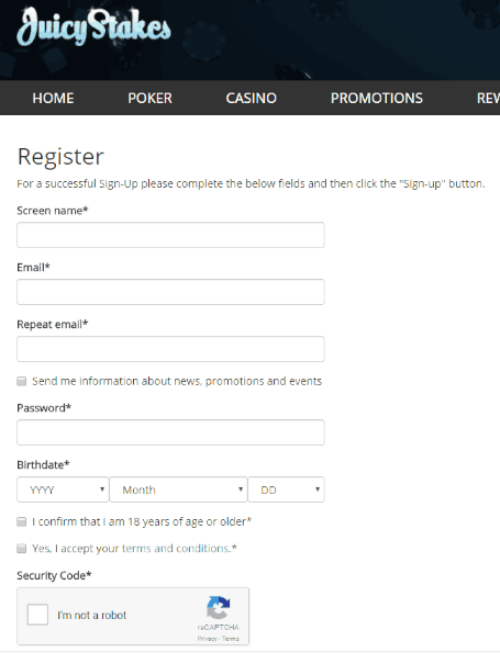Registration Form at Juicy Stakes