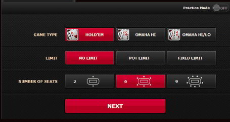 Bodog's Quick Seat Interface