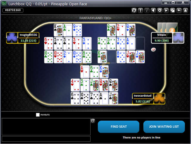 SwCPoker Table Screenshot