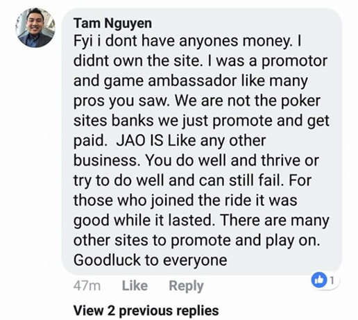 Tam Nguyen's Response to the Jao Poker Downtime