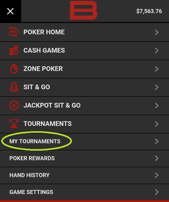 "Going to ""My Tournaments"" in Bovada Mobile Menu"