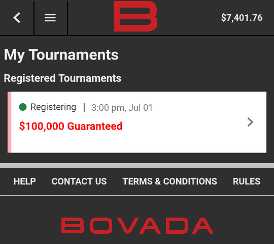 My Tournaments Section in Bovada Mobile Client