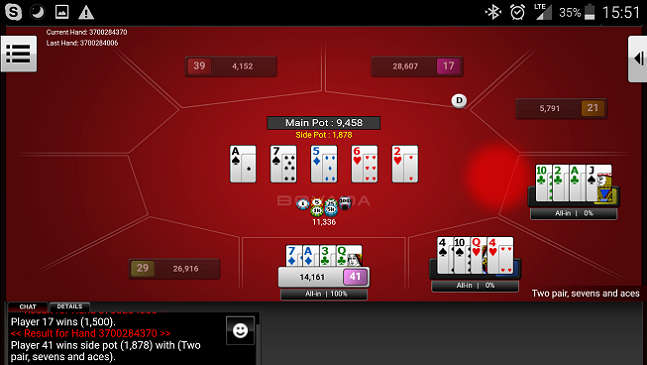 PLO Tournament Table on Mobile Bovada Poker
