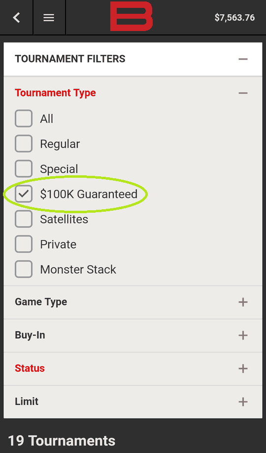 Using the Mobile MTT Filters at Bovada