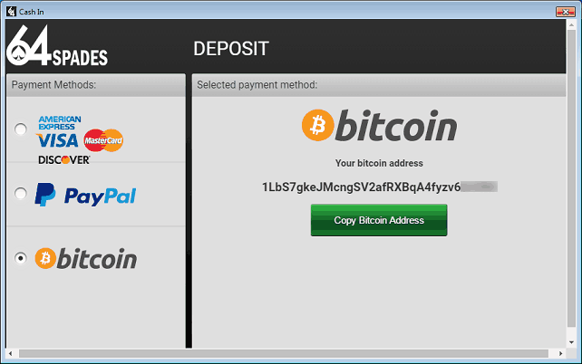 BTC Deposit Window at 64Spades