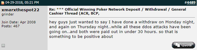 User Report on ACR Cashout Speeds