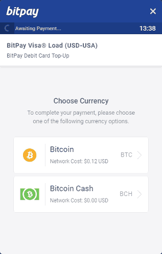 Choose to Pay for Your Card in BTC or BCH