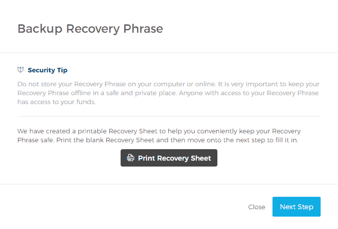Starting the Backup Recovery Phrase Process