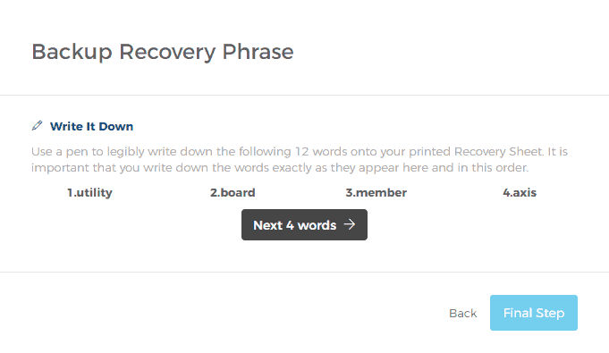 The Backup Recovery Phrase Is Displayed Four Words at a Time