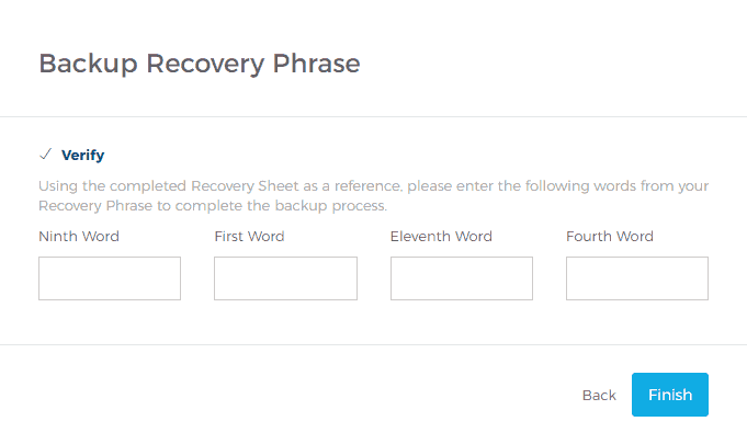 Verifying That the Backup Recovery Phrase Was Properly Saved