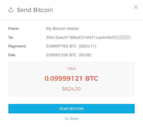 Confirm Bitcoin Send at Blockchain