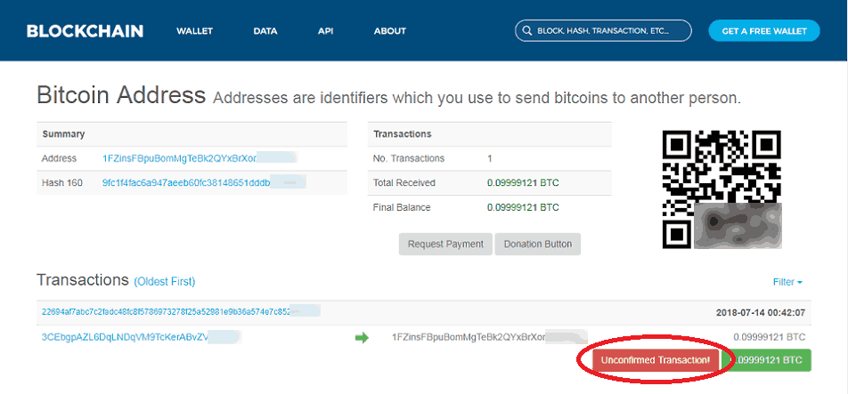 Viewing the Status of a Transaction at Blockchain.com