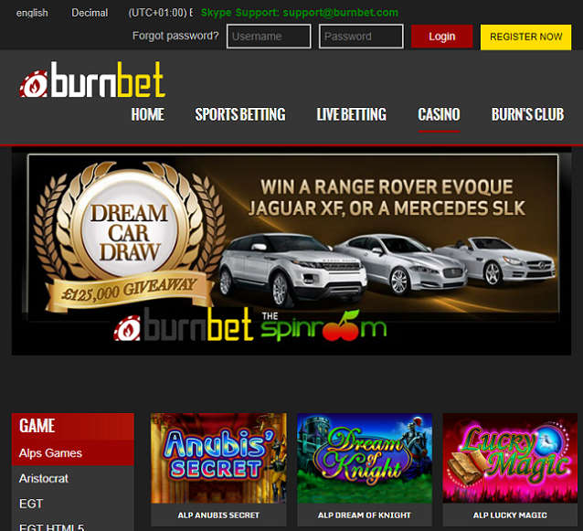 Home Page of Burnbet Casino