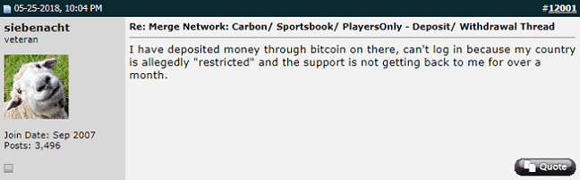 User Can't Access His Carbon Gaming Funds
