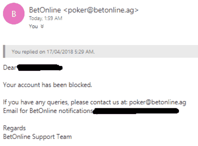 Email From BetOnline About Blocking Australians