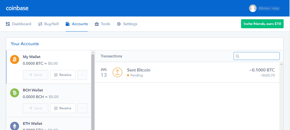 Transactions History at Coinbase