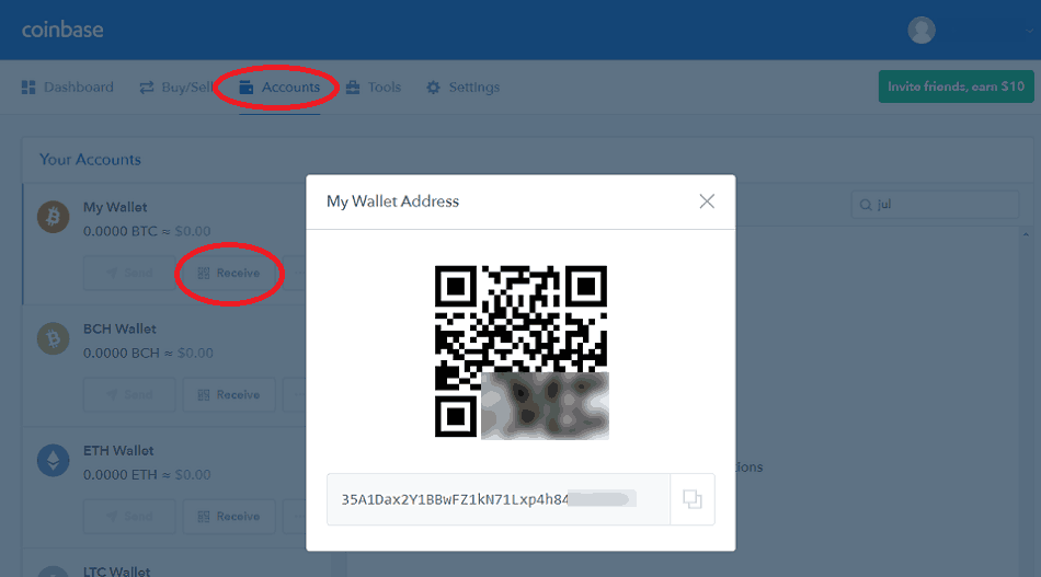 Generating a Bitcoin Address at Coinbase