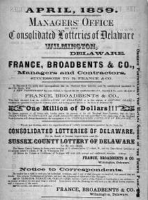 Poster Promoting an 1859 Delaware Lottery