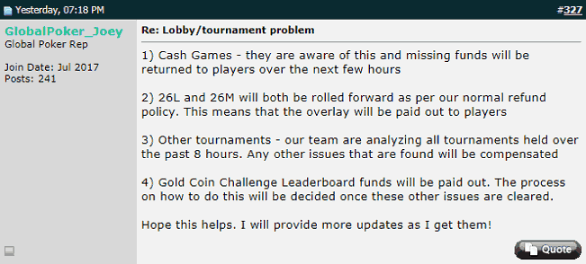 "More Clarifications from ""GlobalPoker_Joey"""