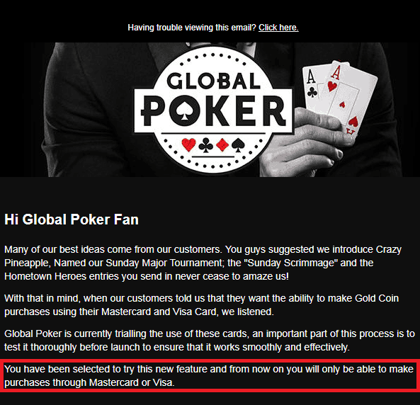 Email From Global Poker About Worldpay