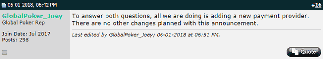 """GlobalPoker_Joey"" Reassures Customers"