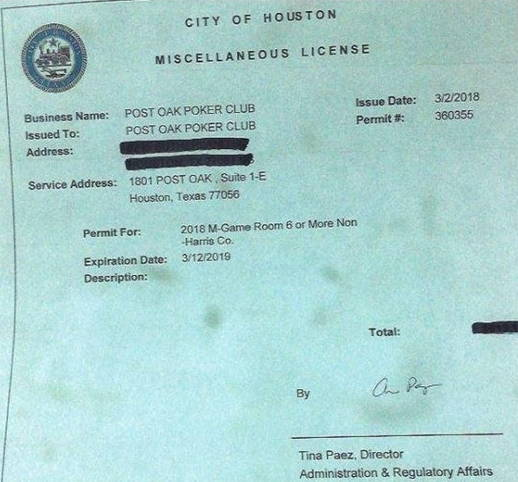 Copy of Post Oak Club's license sourced from their Facebook page