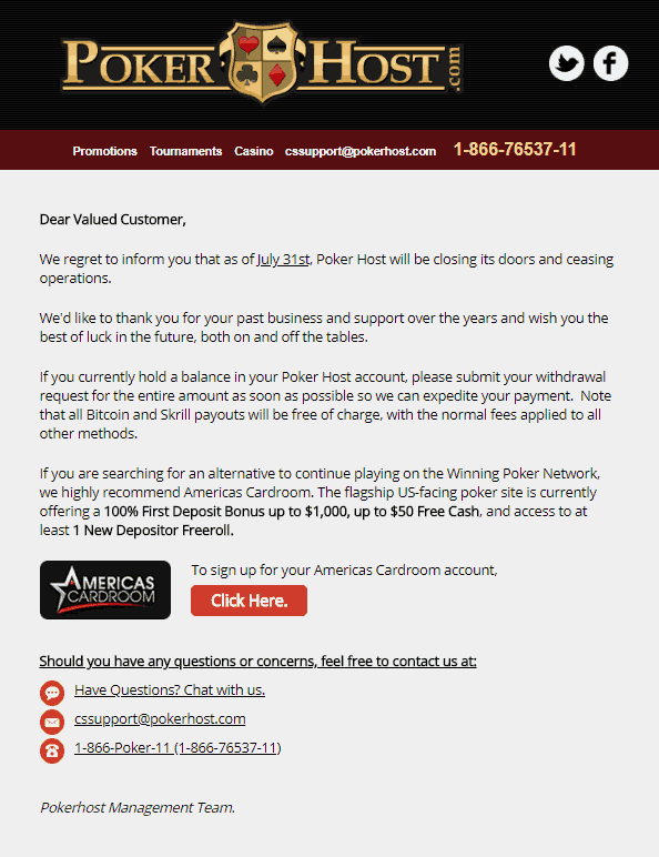 PokerHost Email About Imminent Closure